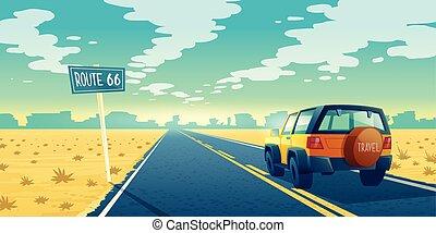 Vector cartoon desert landscape with road - Vector cartoon...