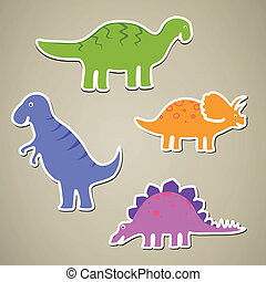 Vector Cartoon Dinosaurs - Vector Illustration of Cartoon...