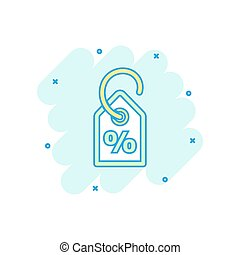 Vector cartoon discount percent tag icon in comic style. Price sale concept illustration pictogram. Promotion coupon business splash effect concept.