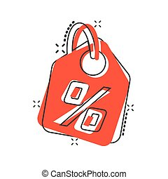 Vector cartoon discount shopping tag icon in comic style. Discount percent coupon concept illustration pictogram. Shop badge splash effect concept.