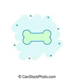 Vector cartoon dog bone toy icon in comic style. Bone sign illustration pictogram. Skeleton os business splash effect concept.