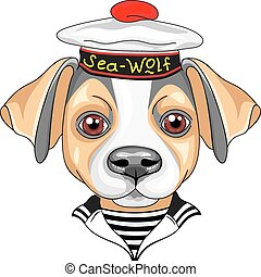 vector cartoon dog Jack Russell Terrier sailor