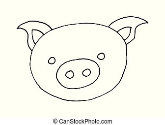 Vector cartoon doodle hand drawn image of pig head on a...