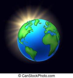 Vector cartoon earth planet globe black