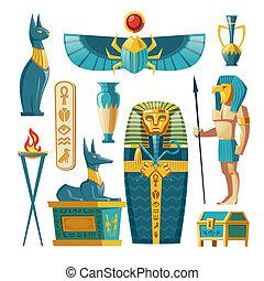 Vector cartoon Egyptian set - pharaoh sarcophagus, gods.