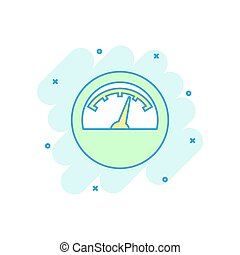Vector cartoon electric meter icon in comic style. Power...