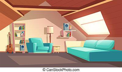 Vector cartoon empty garret room, attic interior - Vector...