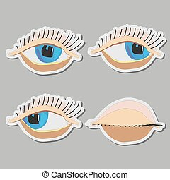 vector cartoon eyes, closed eyes,