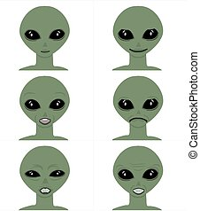 Vector cartoon face expressions Emoticon set alien man face against White background