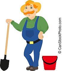 Vector cartoon farmer with shovel bucket