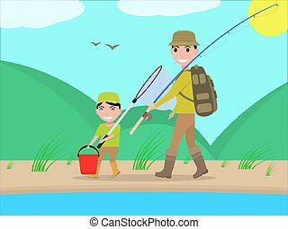 Vector cartoon father and son go on fishing trip