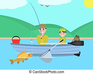 Vector cartoon father son together fishing boat