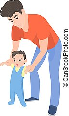 Vector cartoon father teaching his son to walk