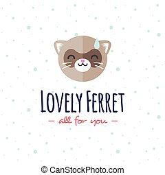 Vector cartoon ferret head logo. Flat logotype.