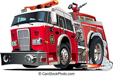 Vector cartoon firetruck. Available EPS-10 vector format...