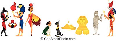 vector cartoon flat Egypt gods set isolated