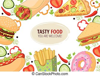 Vector cartoon flat fast food template isolated