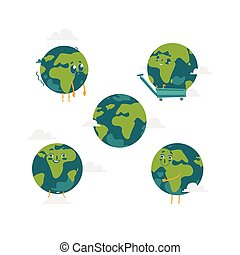 Vector cartoon flat globe character set isolated