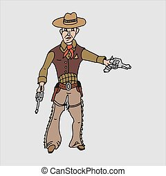 Vector cartoon freehand drawing of a cowboy
