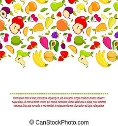 Vector cartoon fruits background. Banner with natural fresh food illustration