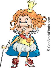 vector cartoon funny sad king with a golden crown -...