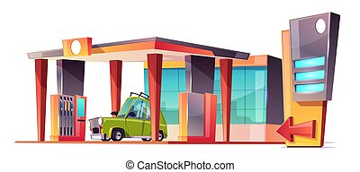 Vector cartoon gas station with green car