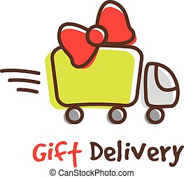 Vector cartoon gifts express delivery logotype. Truck logo.
