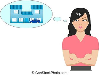 Vector cartoon girl dreaming of a house and a car