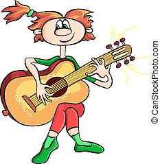 vector cartoon girl playing the guitar