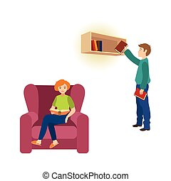 vector cartoon girl reading books scenes