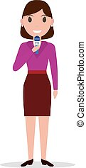 Vector cartoon girl reporter with a microphone