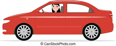 Vector cartoon girl sitting in a car behind wheel