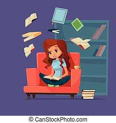 Vector cartoon girl student reading books