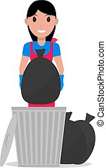 Vector cartoon girl takes out bag garbage