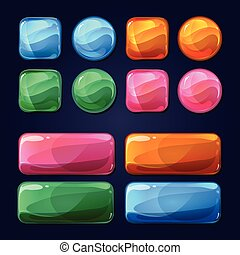 Vector cartoon glass buttons for game user interface UI