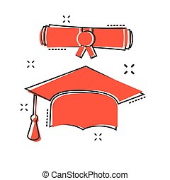 Vector cartoon graduation cap and diploma scroll icon in comic style. Education sign illustration pictogram. Celebration business splash effect concept.