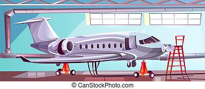 Vector cartoon gray airlinerin aviation hangar.