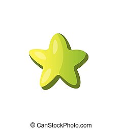Vector cartoon green star icon. Green cartoon star icon with round soft form