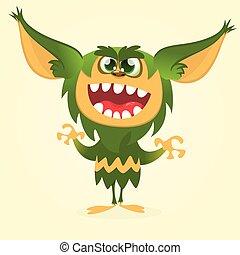 Vector cartoon gremlin monster