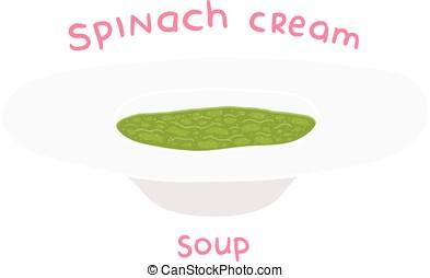 cartoon hand drawn spinach cream soup