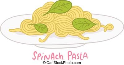 cartoon hand drawn spinach pasta - vector cartoon hand drawn...
