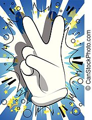 Vector cartoon hand showing the V sign. Illustrated hand ...