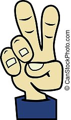 Vector cartoon hand victory sign. Peace hand symbol.