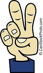 Vector cartoon hand victory sign. Peace hand symbol.