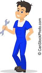 Vector cartoon handyman man wrench
