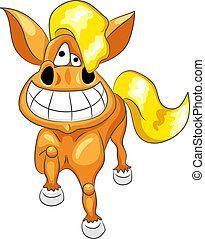 Vector cartoon happy funny horse