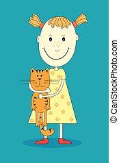 Vector cartoon happy girl with funny cat.