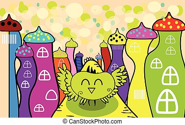 Vector cartoon happy owl in the fairy town