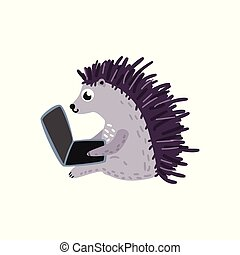 Vector cartoon hedgehog sitting with laptop knees