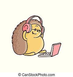Vector cartoon hedgehog sitting with laptop knees